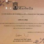 Nuestro premio del Ayuntamiento de Marbella y de la Alcaldesa.