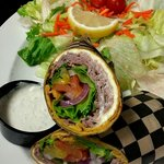 Roast beef wrap with a happy side salad