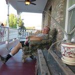 Relaxing on the veranda.