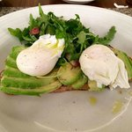 Avocado toast with poached eggs.
