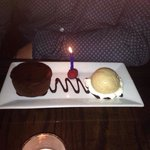 Gorgeous chocolate soufflé with a nice touch for my husband's birthday!
