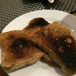 gluten free toast sent by the kitchen, burnt!