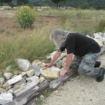 "Placing a ""prayer rock"" on the Prayer Path"