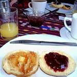 Rancho Grande Inn Breakfast Pancake served with jam