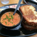 Bacon and tomato grilled cheese with tomato bisque.