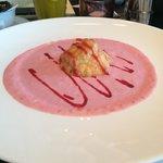 my raspberry soup with mascarpone profiterol!!! 😍