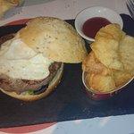hamburguesa de buey (era comida de perro enlatada)
