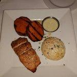 Salmon, sweet potato truffles & gouda grits