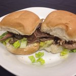 Duck sliders with goat cheese and hoisin sauce