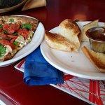 Bread sticks with marinara and the Mediterranean Pasta Salad Pizza.
