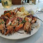 Prawns with rice and vegetables