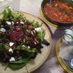 Figie Salad and the days soup selection tomato with quinoa and veggies