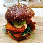 Chicken strips burger. A MUST!