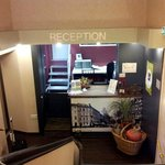 Recption is on the second floor - you can take the stairs or an elevator