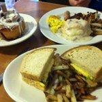 Cinnamon roll, Greek breakfast sandwich & biscuits & gravy