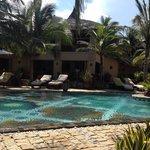 View across pool to restaurant.