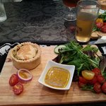 Spinach and feta pie with local cider