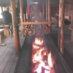 The fire pit in the long dining hall