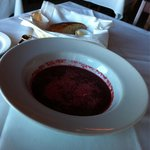 Puréed beet soup with stringy cheese