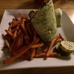 Greek wrap and sweet potato fries