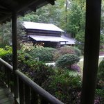 View of nearby cabin from front porch