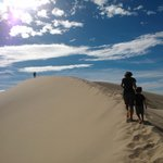 walking up the highest dune!