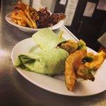 Veggie Wrap + Avocado Fries, also Kids size Outlaw BBQ Ribs + Fries