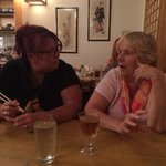 Clare and Betsy enjoying some Plum Wine.