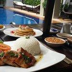 Breakfast in poolside