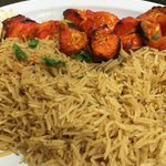 Chicken shish kabob with brown rice