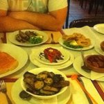 Really bad picture but the food was amazing! Courgettes and eggplant, some chorizo in white wine