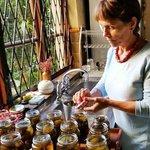 Bottling home made fig preserve