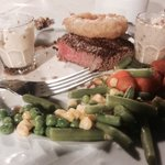 Perfect prepared fillet steak with veg, sauces and onion rings, must try!