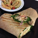 Sweet chicken wrap and pasta salad