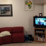 Tv and sofa in basement common area.