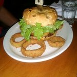 The Bear Burger, giant 1 lb feast. Husband liked it. Medium rare was perfectly cooked.