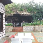 Looking at the sitting area in the ancient cave