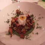 Chanterelle mushrooms with quail egg
