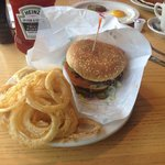 Great onion rings and good burger.
