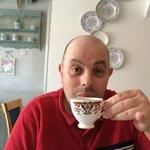 Lee having tea at 161 Cafe Bistro