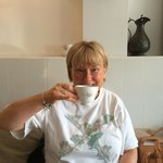 Me having tea at 161 Cafe Bistro