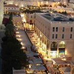 Mamilla street and old city wall from roof restaurant