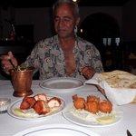 Naz enjoying his meal