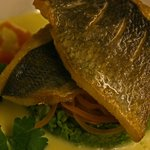 Sea bass with saffron cream sauce