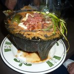 Molcajete - beef, chicken, cheese and more in delicious sauce that can be ordered mild or spicy