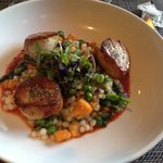 scallops and couscous-- perfectly cooked