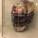 In the hotel recption Sebastian Vettel's helmet