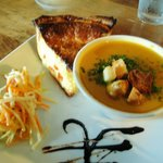 Butternut soup and Sweet Red Pepper Quiche