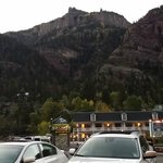 the hotel hugs the mountains