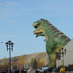This large dinosaur is a few blocks away from the Heartwood Inn